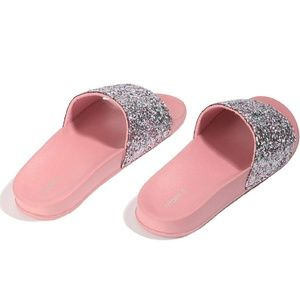dd86d1b9794fe9 Shoes - Cute Pink glitter bling sparkly slide sandals